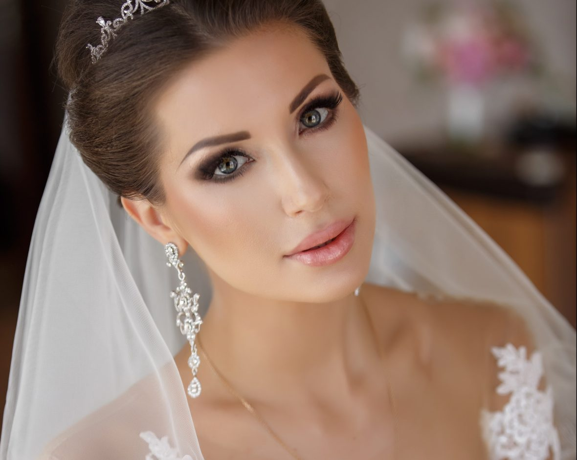 Close up of bride on wedding day with flawless skin.